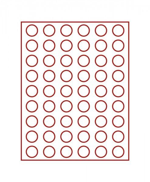 Velourseinlage, dunkelrot, mit 54 runden Vertiefungen für Münzen mit ø26,75 mm