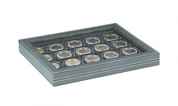 Münzkassette NERA M PLUS mit schwarzer Münzeinlage für 20 Münzrähmchen 50x50 mm/Münzkapseln CARRÉE/OCTO Münzkapseln