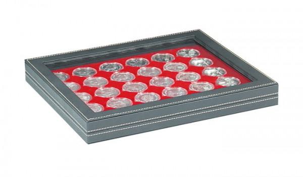 Münzkassette NERA M PLUS mit hellroter Münzeinlage mit 30 runden Vertiefungen für Münzkapseln mit Außen-ø 37,5 mm, z.B. für orig. verkapselte deutsche 20 Euro-/10 Euro-Silbermünzen in Spiegelglanz