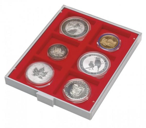 d-Box STANDARD mit 6 quadratischen Fächern 85 x 85 mm für Münzen/Medaillen und sonstige Sammelobjekte