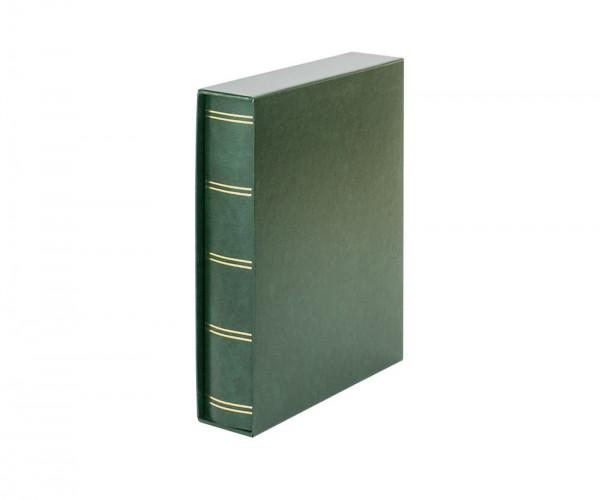 Einsteckbuch ELEGANT grün, mit 60 weißen Seiten und passender Schutzkassette