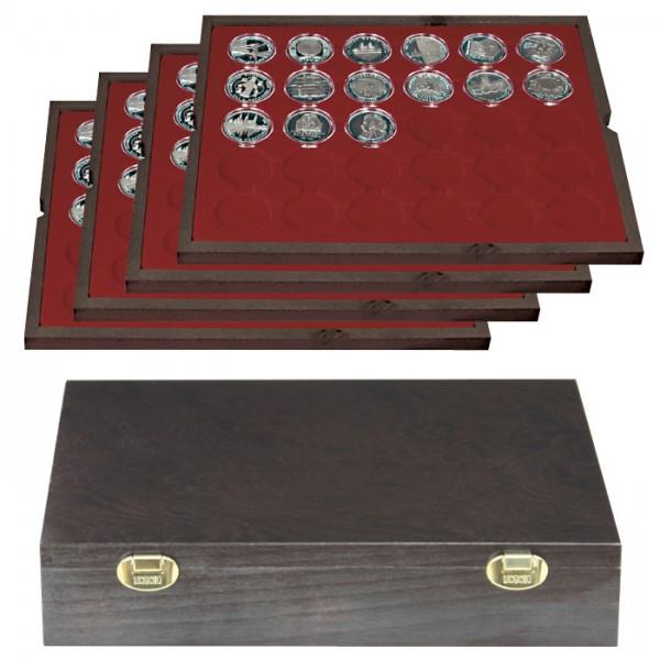 Echtholzkassette CARUS mit 4 Tableaus für 120 Münzkapseln mit Außen-ø 39 mm, z.B. für deutsche 20 Euro-/10 Euro-Silbermünzen in LINDNER Münzkapseln