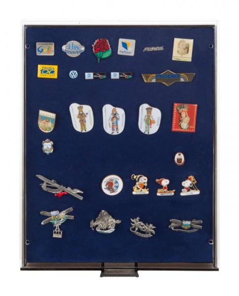 Sammelbox RAUCHGLAS mit blauer Schaumstoffeinlage für PINs / Orden / Abzeichen
