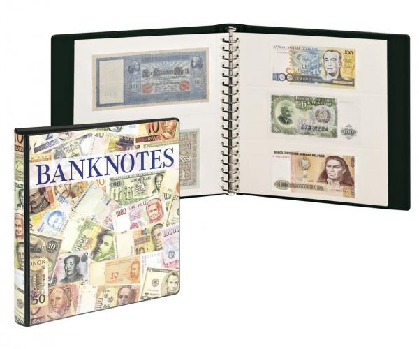 Banknotenalbum mit 10 Klarsichthüllen in 2 Ausführungen und weißen Zwischenblättern.