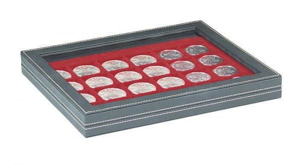 Münzkassette NERA M PLUS mit dunkelroter Münzeinlage mit 24 quadratischen Fächern für Münzen/Münzkapseln bis ø 42 mm