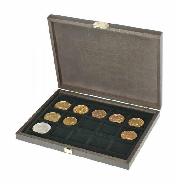 Echtholzkassette CARUS XM mit 15 quadratischen Fächern für Münzen/Münzkapseln bis Außen-ø 40 mm