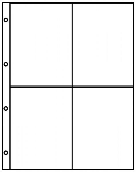 Einsteckblätter A4 glasklar mit 4 Taschen (109 x 150 mm), 10er-Packung