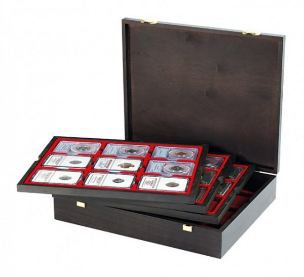 Echtholzkassette CARUS für 36 US-Münzkapseln (Slabs) bis zu einem Format von 63x85 mm
