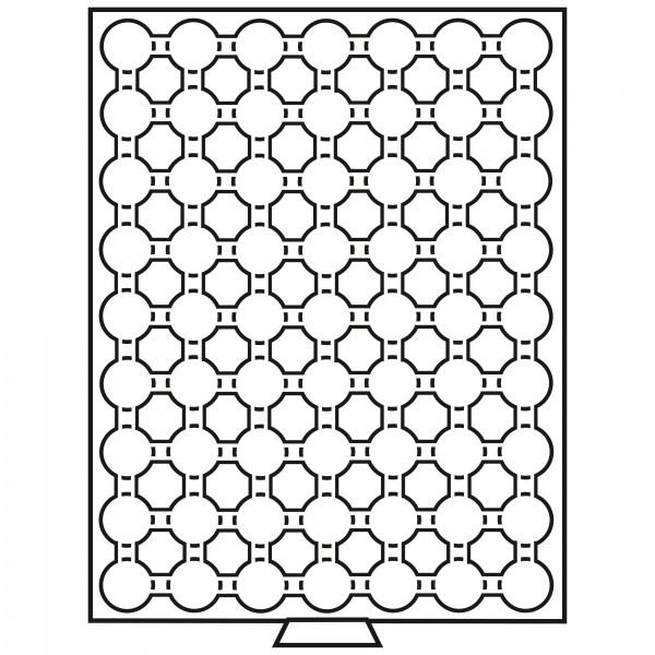 Münzbox 63 Fächer für CAPS 19, rauchfarben