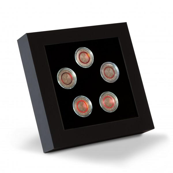 LED-Präsentationsrahmen für 5 dt. 5-Euro-Sammlermünzen in Kapseln