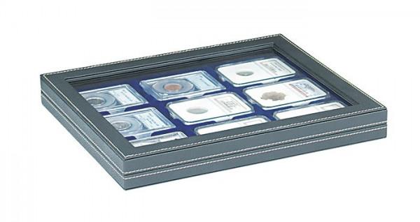 Münzkassette NERA M PLUS mit dunkelblauer Münzeinlage für 9 US-Münzkapseln (Slabs) bis zu einem Format von 63x85 mm