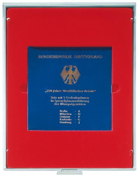 Münzbox STANDARD mit einem quadratischen Fach für ein original eingeschweißtes 10 DM-Gedenkmünzen-Set PP