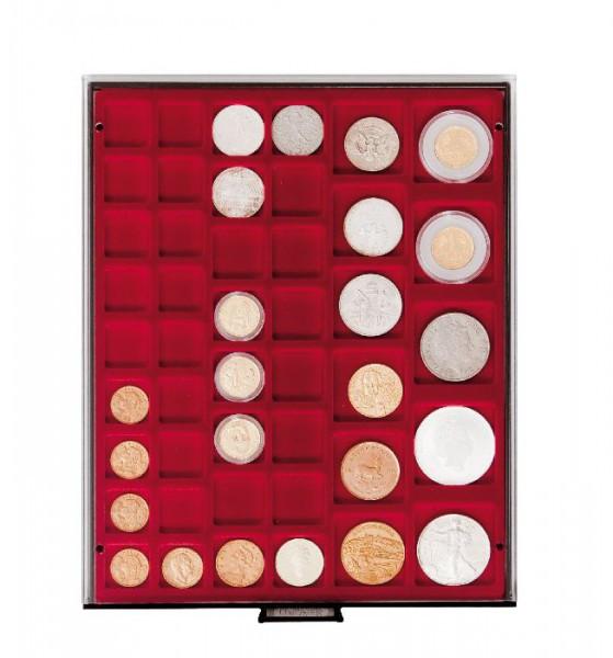 Velourseinlage, dunkelrot, mit 45 rechteckigen Fächern für Münzen/Münzkapseln bis ø24, 28, 39 und 44 mm